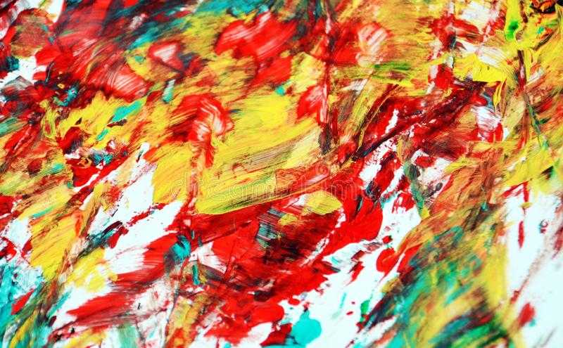 Yellow blue orange red phosphorescent vivid spot paint background, watercolor acrylic painting abstract background stock image