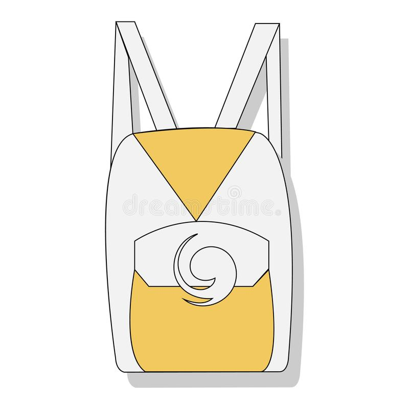 Yellow and white school backpack. Backpack for school supplies, notebooks, pencils, pens, rulers, scissors, paper. Education and s. Tudy back to school vector illustration