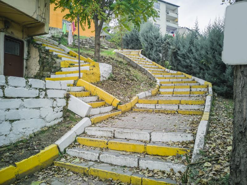 Yellow white stairs in city royalty free stock images