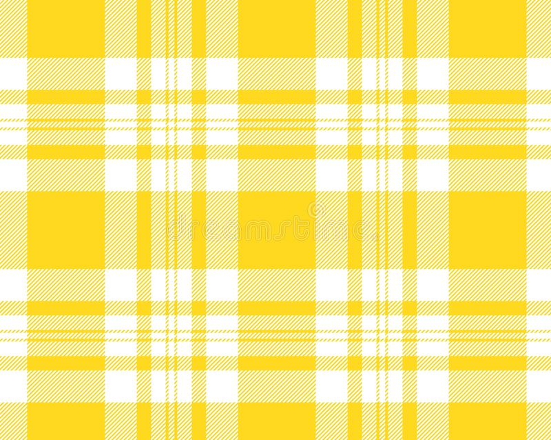 Yellow and white tartan plaid pattern. Scottish woven pattern illustration. Repeat, fabric, square, concept, kilt, cotton, fashion, gingham, creative, new royalty free stock photos