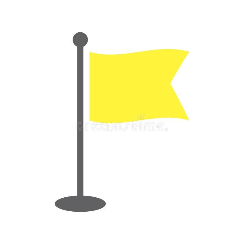 Yellow Windy flag on flagpole. stock illustration