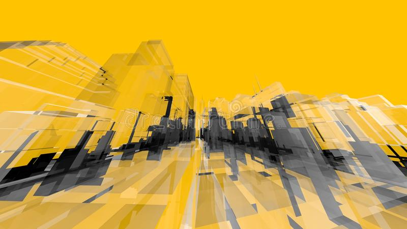 Yellow Wireframe Architecture Creativity Concepts and Backgrounds. Modern Art Design for Space vector illustration