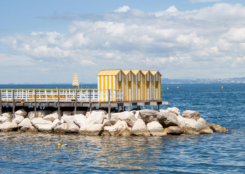 Yellow wooden cabins stock photography