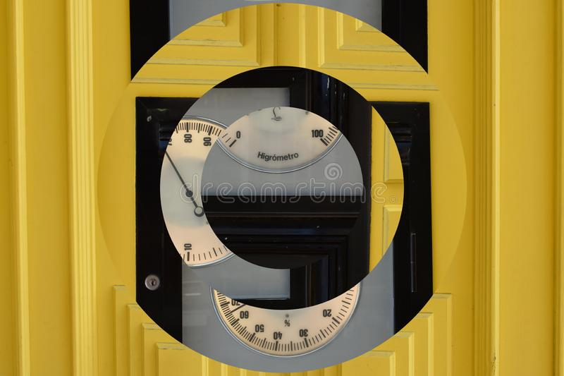 Yellow wooden door with abstract inverted effect stock image