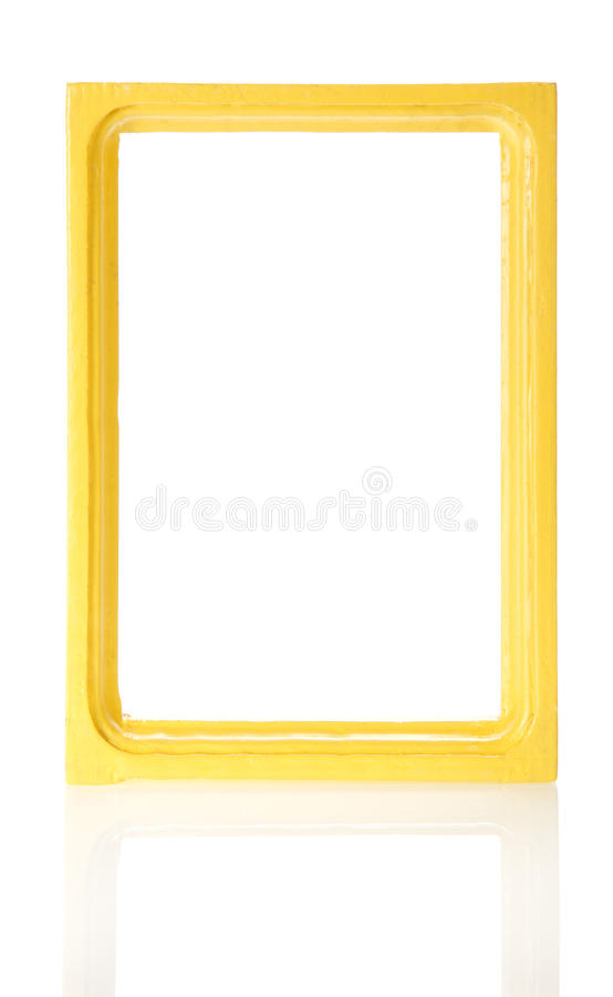 Yellow wooden frame for the photos royalty free stock photography