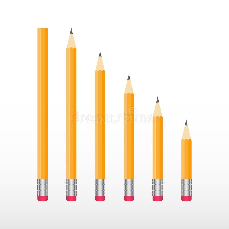 Yellow wooden pencils. Classic yellow vector pencil set. Yellow wooden pencils isolated on white background. Classic yellow vector pencil set stock illustration
