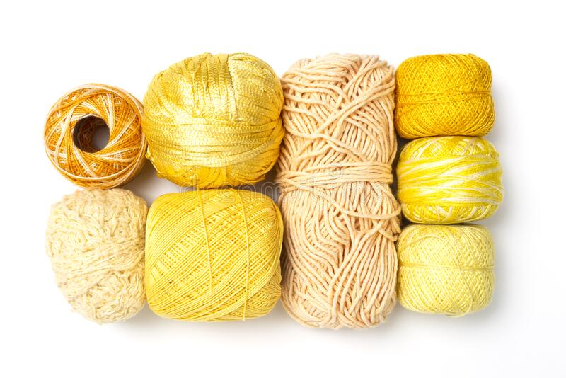 Yellow wool and yarn collection stock photography