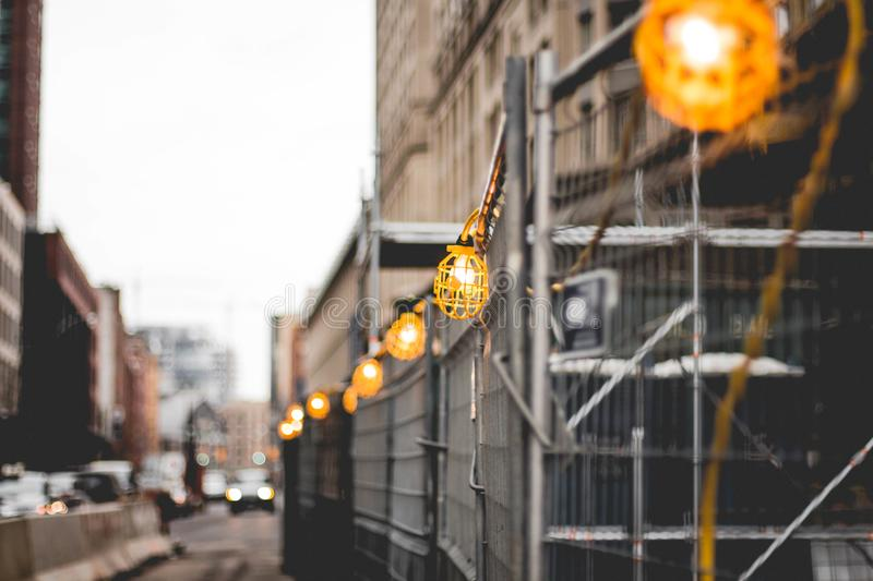 Yellow Work Lamps Turned on royalty free stock photo