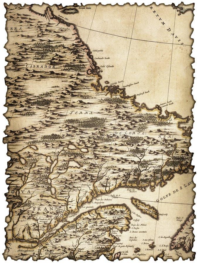 Yellowed i plamiący kawałek stara mapa zdjęcie stock