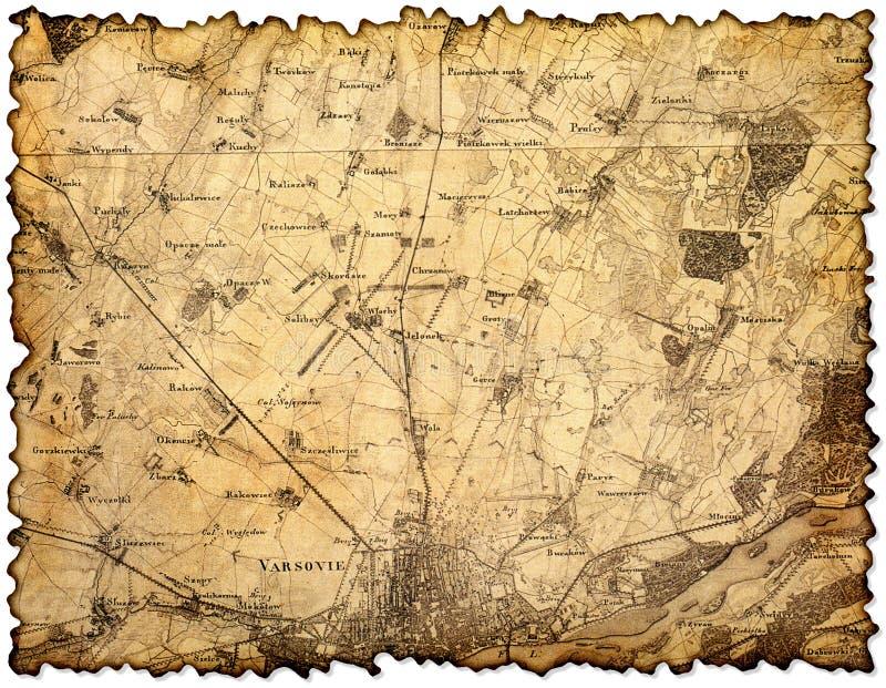 Yellowed i plamiący kawałek stara mapa fotografia stock