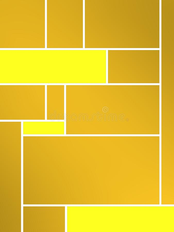 Yellowish geametric composition of tribute to Mondrian. Compositions of geometric pattern with different colors and easy to use for different concepts stock illustration