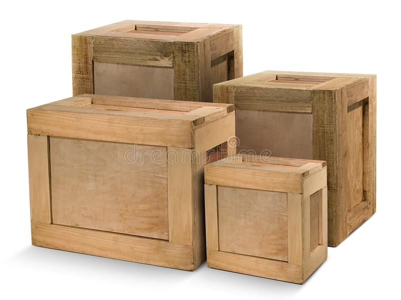 Yellowish wooden crates isolated on white background. For Graphic design In advertising media royalty free stock photo