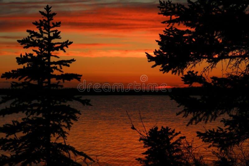 Yellowknife solnedgång arkivfoto