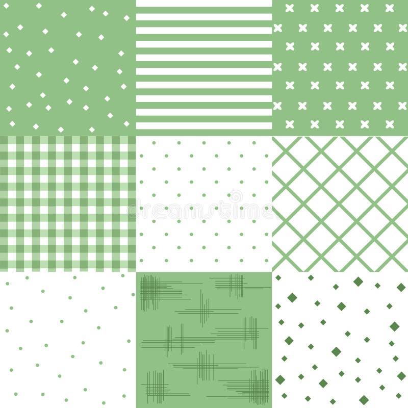 Vector set green, cute seamless patterns royalty free illustration