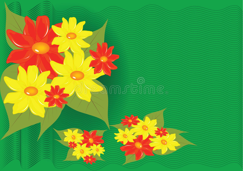 Download Yellows and reds flowers stock vector. Image of floral - 4748246