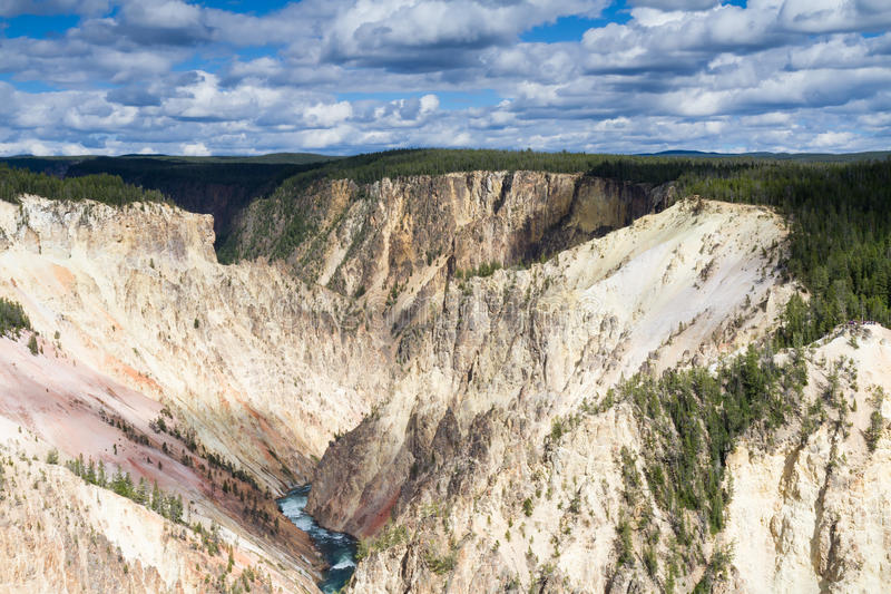 Yellowstone Canyon as seen from the Grand View lookout royalty free stock photography