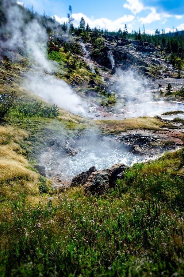 Yellowstone-Farbentopf-Wasserkochen lizenzfreies stockbild