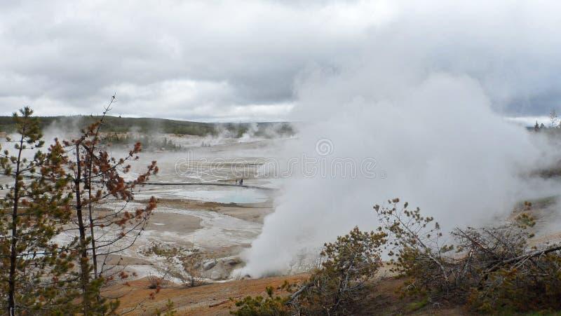 Yellowstone-Geysire spucken lizenzfreies stockbild