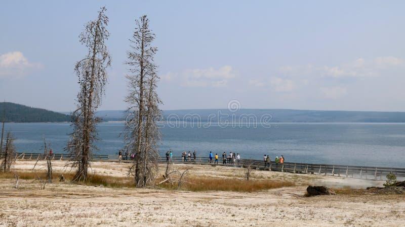 Yellowstone jezioro Od Zachodniego kciuka gejzeru basenu fotografia stock