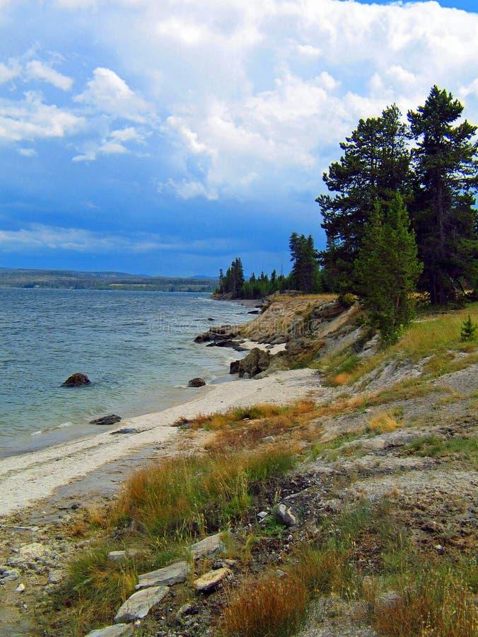 Yellowstone jezioro w późnym lecie po krótkiego deszczu obrazy royalty free