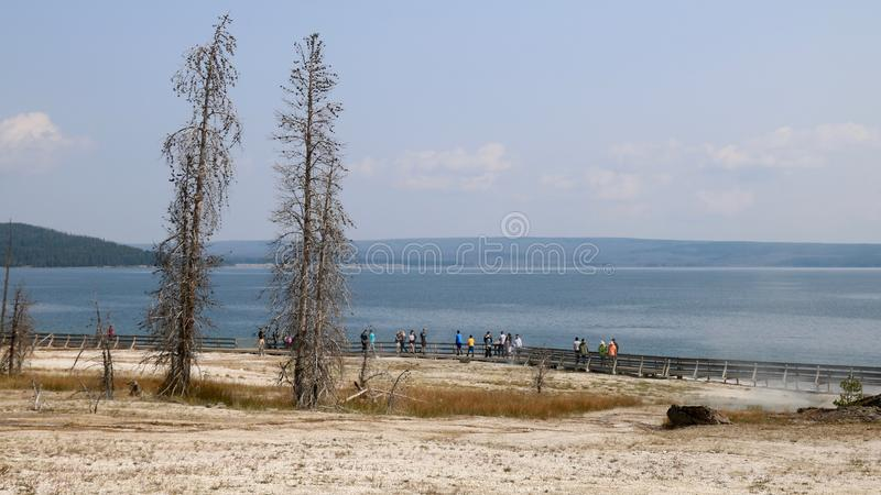 Yellowstone Lake From the West Thumb Geyser basin stock photography