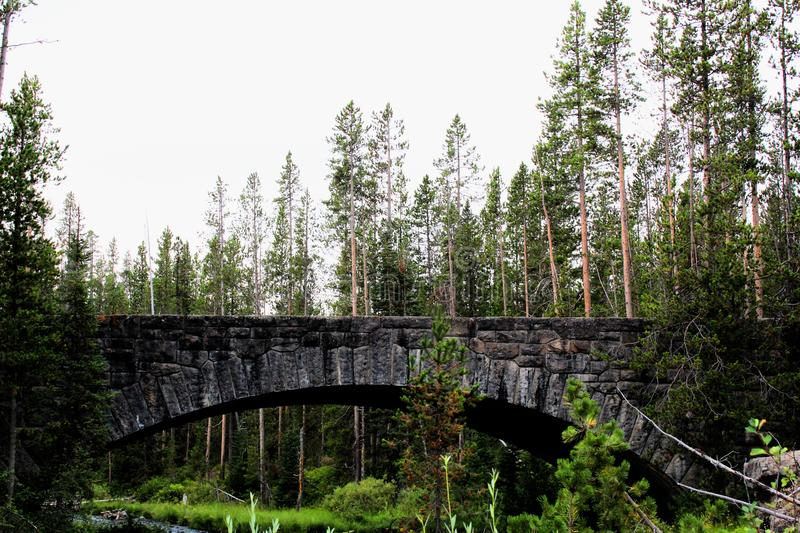 Yellowstone National Park Beautiful bridge with rocks and moss and woodlands gorgeous colors stock photo