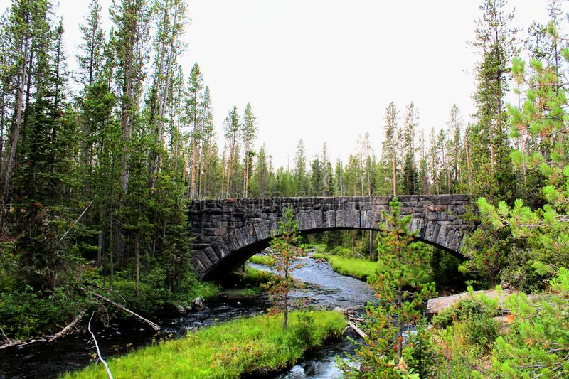 Yellowstone National Park Beautiful Bridge with rocks and moss and woodlands gorgeous colors royalty free stock image