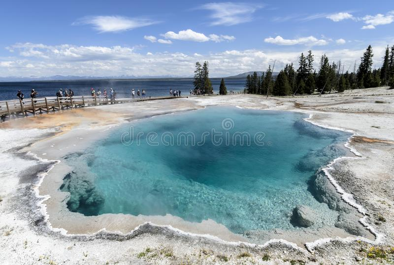 Black pool west thumb geyser basin. West Thumb basin Black pool Yellowstone NP.June 2016 The geothermal areas of Yellowstone include several geyser basins in royalty free stock photos