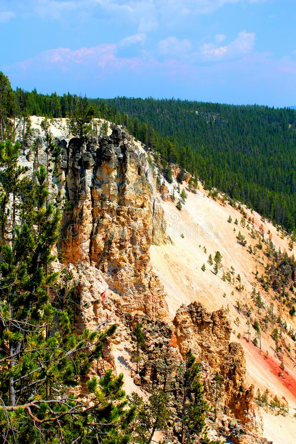 Yellowstone National Park Landscape Mountains and woodlands beautiful cliffs stock photos