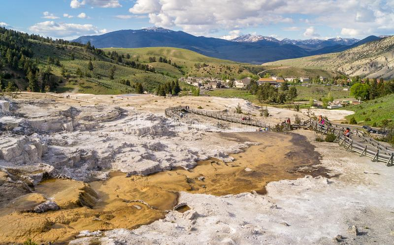 Yellowstone national park mammoth hot springs nature valley mountains geyser royalty free stock images