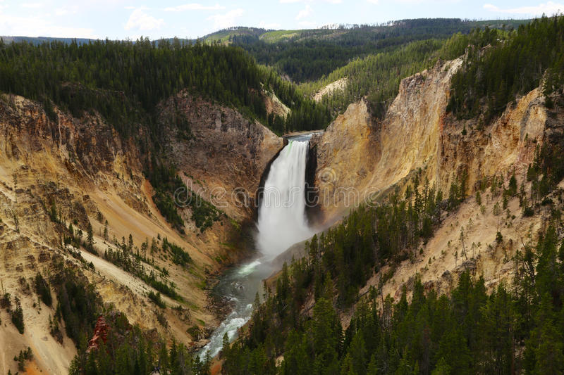 Yellowstone National Park Waterfall with sky royalty free stock photography