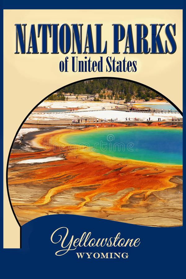 National Parks USA, Yellowstone NP, Travel Poster royalty free stock photos