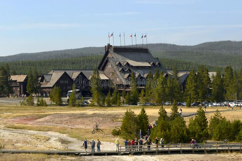 YELLOWSTONE NATIONAL PARK, WYOMING, USA - AUGUST 23, 2017: Old Faithful Inn. The Inn is located right in front of the Old Faithful. Geyser stock image