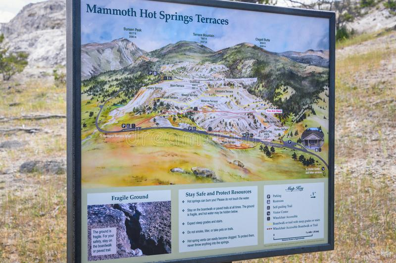 YELLOWSTONE NATIONAL PARK, WYOMING, USA - JULY 17, 2017: Mammoth Hot Springs map, signpost. Yellowstone Park royalty free stock photos