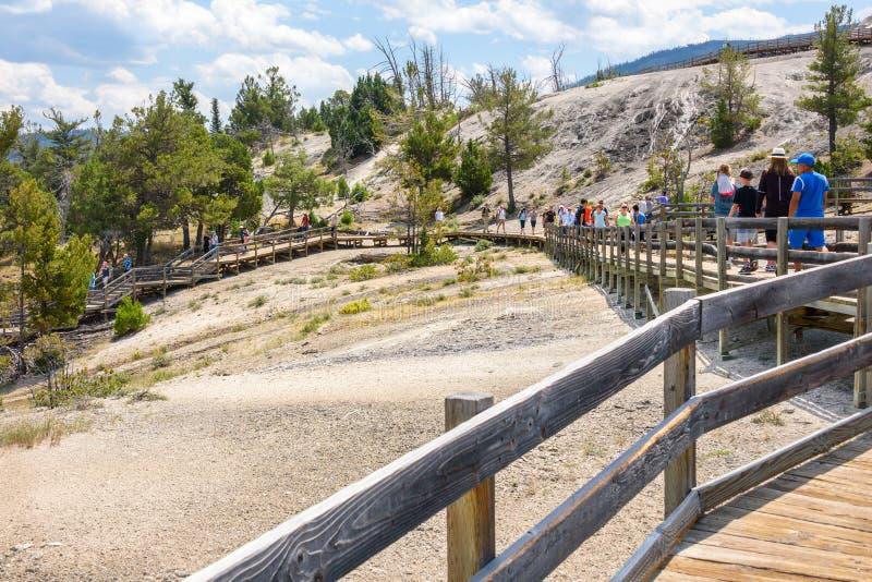 YELLOWSTONE NATIONALPARK, WYOMING, USA - 17. JULI 2017: Touristen auf Promenade an Mammoth Hot Springs Terrassen Yellowstone-Park stockfotos