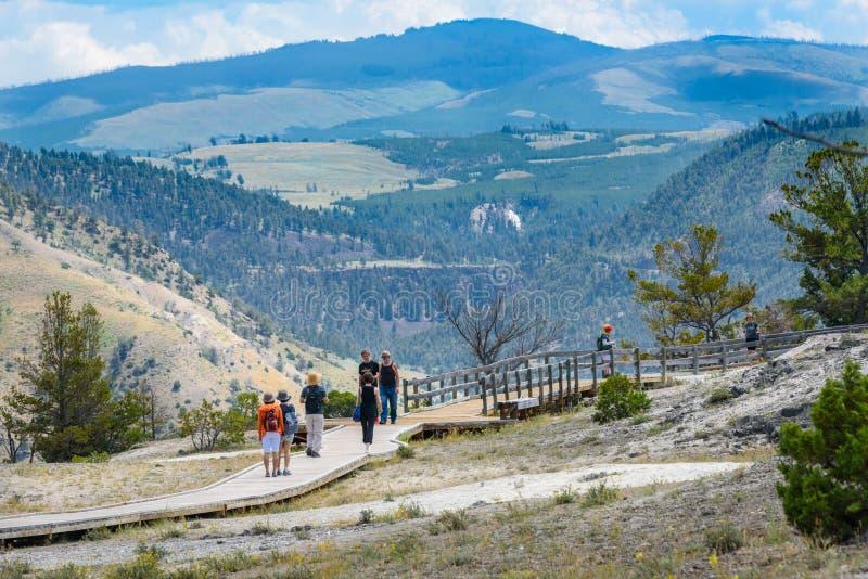 YELLOWSTONE NATIONALPARK, WYOMING, USA - 17. JULI 2017: Touristen auf Promenade an Mammoth Hot Springs Terrassen Yellowstone-Park lizenzfreies stockbild