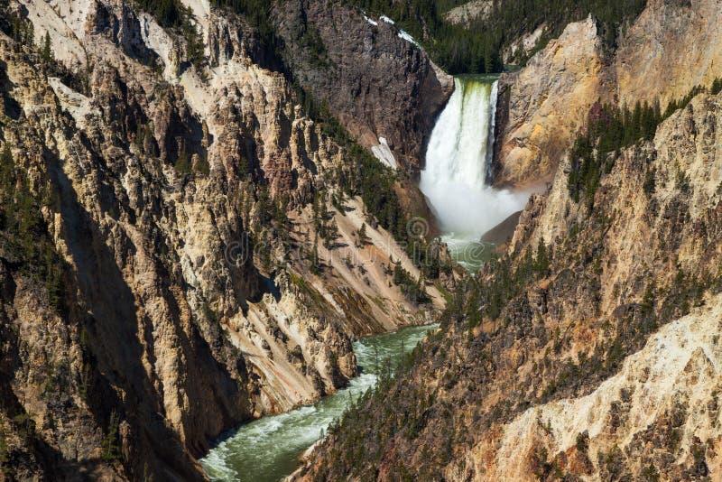 Yellowstone nedgångar i den Yellowstone nationalparken, Wyoming fotografering för bildbyråer