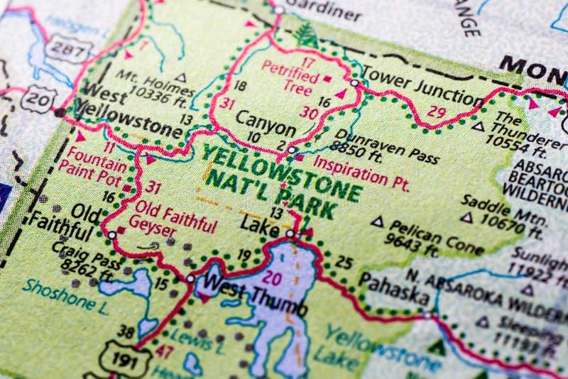 Yellowstone park na mapie zdjęcia royalty free