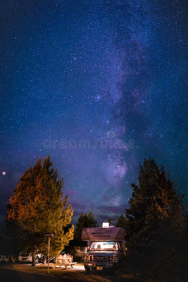 Yellowstone National Park RV Camp milky way Galaxy stock photo