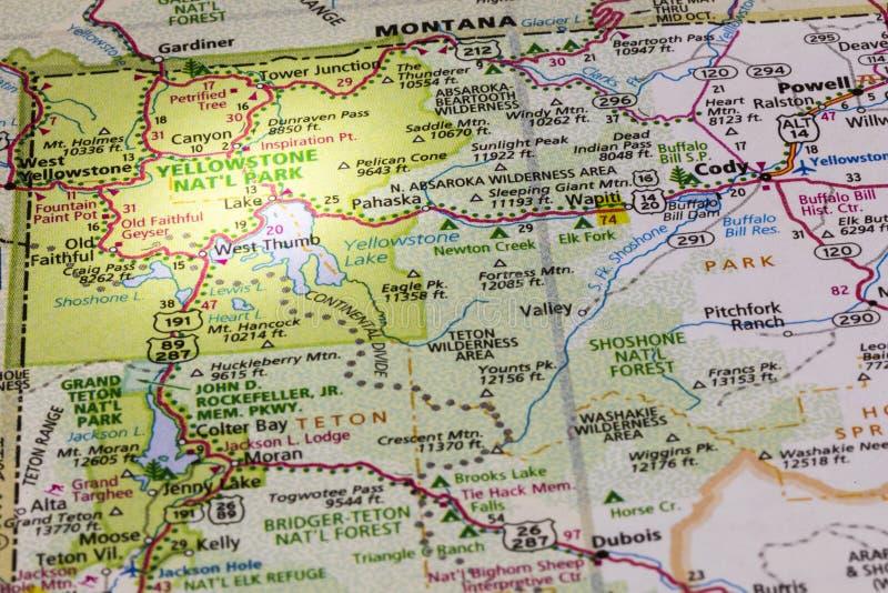 Yellowstone parka mapy światło reflektorów zdjęcia royalty free