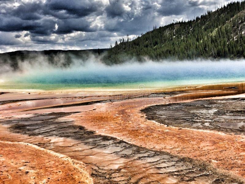 Yellowstone pools geyser stock image