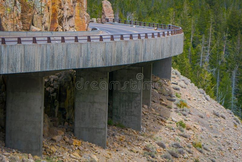 Yellowstone`s Grand Loop Road passes through the Golden Gate Bridge stock photography