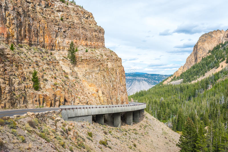 Yellowstone's Grand Loop Road passes through the Golden Gate pass royalty free stock image
