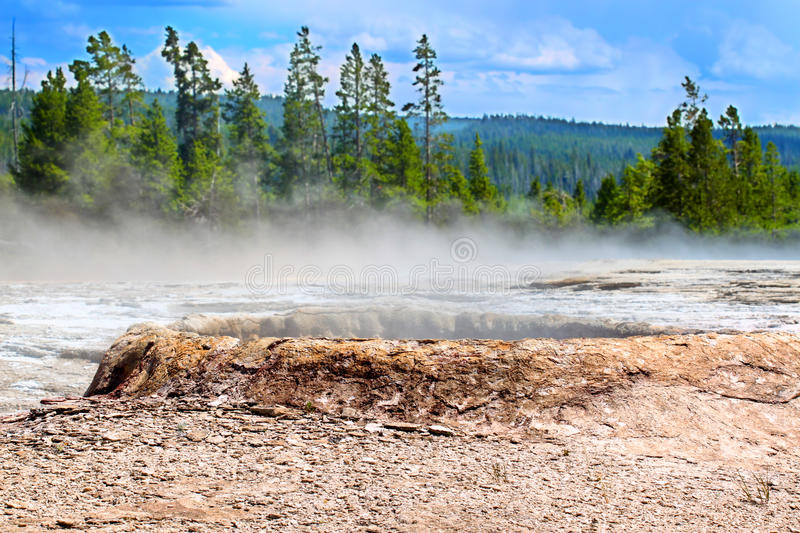 Yellowstone Teakettle Spring Landscape. Teakettle Spring in the Upper Geyser Basin of Yellowstone National Park stock images