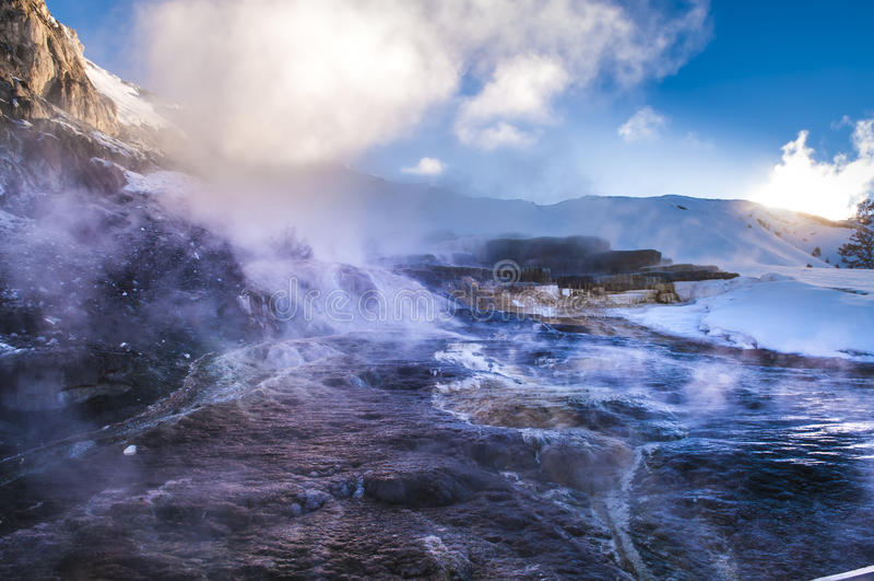 Yellowstone vinterlandskap arkivfoton
