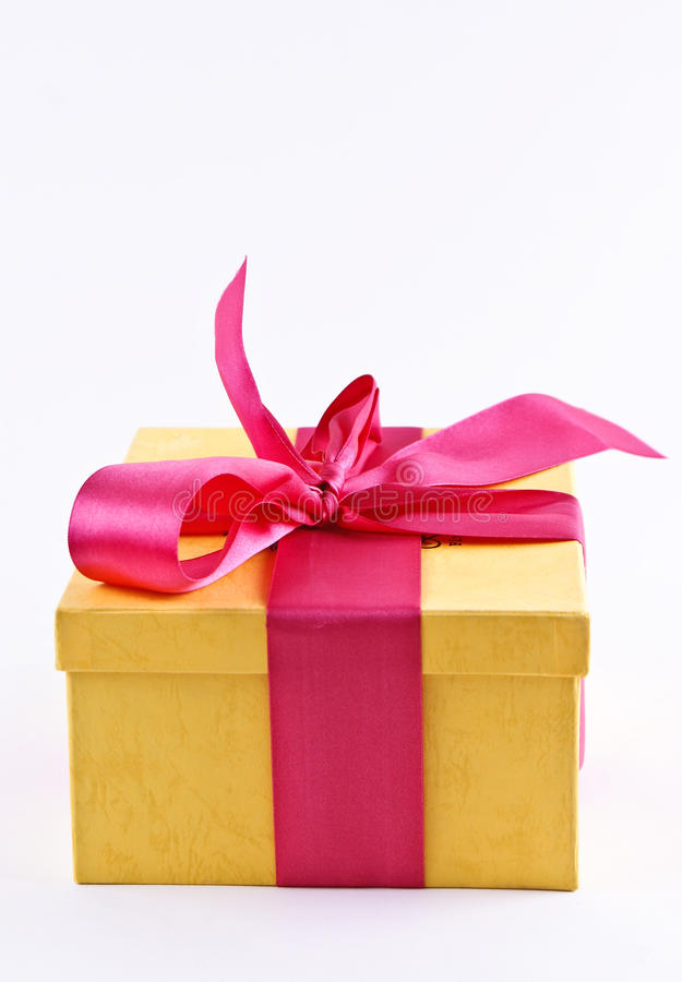 Free Yelloy Present Box With Ribbon Bow Royalty Free Stock Photography - 19430317