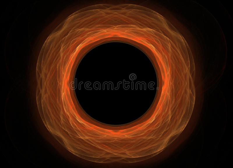Yeloow colorido abstrato e fractal alaranjado no fundo preto Textura do fractal da fantasia Twirl vermelho de Digitas art rendiçã ilustração stock