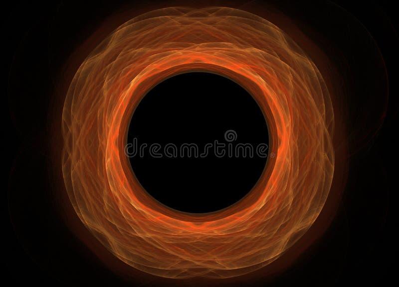 Yeloow variopinto astratto e frattale arancio su fondo nero Struttura di frattale di fantasia Rotazione rosso-cupo di Digitahi ar illustrazione di stock