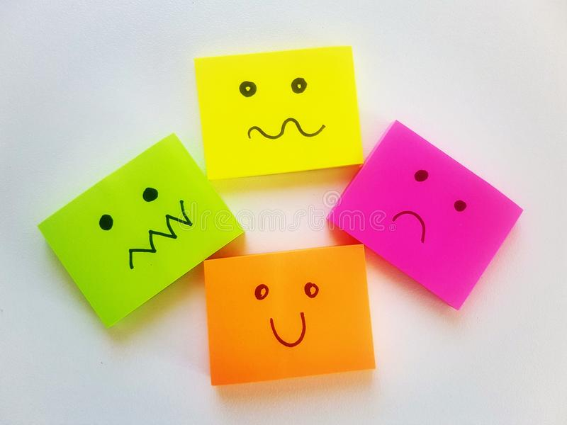 Emoticons. Simple color note. Yelow note remember. expressions vector. Emoticons royalty free stock photo