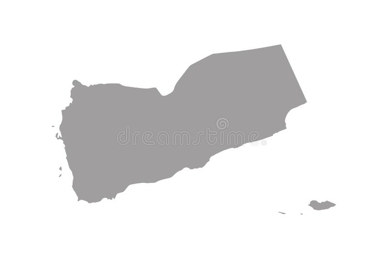 Yemen country map,border grey color royalty free illustration